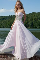 Ruched Sleeveless Maxi Sweetheart Chiffon Prom Dress With Beading And Pleats