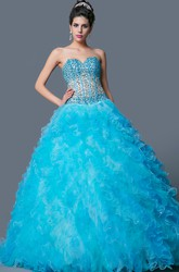 Sweetheart Sleeveless Organza Ball Gown Prom Dress with Beading and Ruffle