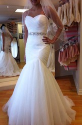 Mermaid Trumpet Sweetheart Tulle Lace-up Corset Back Wedding Gown