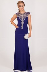 Sheath Scoop-Neck Long Beaded Cap-Sleeve Jersey Prom Dress