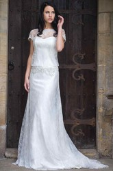Sheath Long T-Shirt-Sleeve Bateau-Neck Lace Wedding Dress With Beading And Illusion