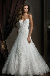 Sweetheart Mermaid Wedding Dress With Appliques And Pleats