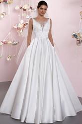 2b38354f5568b6 ... Pleats; Ball-Gown Bateau Lace Sleeveless Floor-Length Satin Wedding  Dress With Deep-V ...