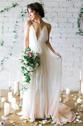 A Line Spaghetti V-neck Chiffon Open Back Wedding Dress