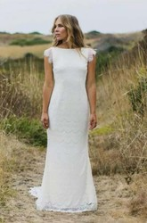 Sheath Bateau Lace Zipper Wedding Dress