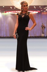 Sheath Scoop-Neck Beaded Cap-Sleeve Long Chiffon Prom Dress With Pleats