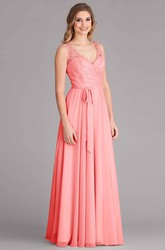 Sleeveless Lace V-Neck Chiffon Bridesmaid Dress With Bow