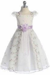 Split Tea-Length Bowed Floral Organza Flower Girl Dress With Embroidery