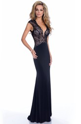 Jersey Mermaid Sleeveless V-Neck Prom Dress With Keyhole Back And Sequined Bodice