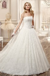 Strapless A-Line Wedding Dress With Pleated Skirt And Beaded Bodice