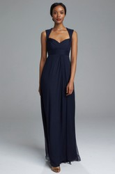 Sheath Sleeveless Long Empire Queen-Anne Ruched Chiffon Bridesmaid Dress With Pleats