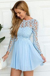 A-line Short Mini Long Sleeve Jewel Pleats Ruching Chiffon Lace Homecoming Dress