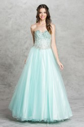 A-Line Long Sweetheart Sleeveless Tulle Satin Backless Dress With Beading