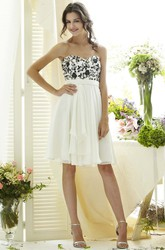 Short Draped Sleeveless Sweetheart Empire Chiffon Bridesmaid Dress