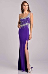 Jersey Sheath One-Shoulder Side Slit Prom Dress With Beadwork