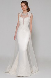 Mermaid High Neck Sleeveless Beaded Satin Wedding Dress With Keyhole