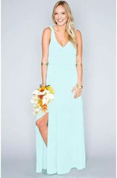 Sheath V-neck Sleeveless Chiffon Beach Floor-length Natural Waist Deep-V Back Dress