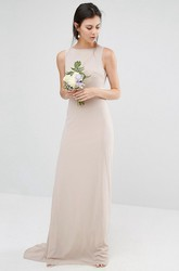 Sheath Floor-Length Jewel Neck Sleeveless Bowed Chiffon Bridesmaid Dress