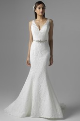 Trumpet Sleeveless V-Neck Long Appliqued Lace Wedding Dress With Waist Jewellery And Deep-V Back