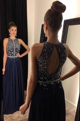 Sparkly Navy Blue Sleeveless 2018 Prom Dresses Long Chiffon Beadings