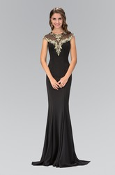 Sheath Long Scoop-Neck Cap-Sleeve Jersey Illusion Dress With Beading