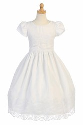 Floral Tea-Length Cap-Sleeve Tiered Organza Flower Girl Dress With Embroidery