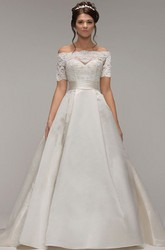 A-Line Off-The-Shoulder Short-Sleeve Satin Wedding Dress With Illusion