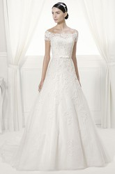 Off Shoulder Short Sleeve Appliqued Tulle Bridal Gown With Sequins