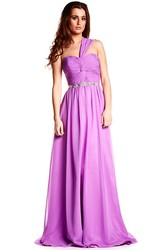 One-Shoulder Ruched Sleeveless Chiffon Prom Dress