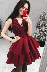 A-line Short Mini Sleeveless V-neck Ruffles Tiers Satin Lace Homecoming Dress