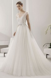 Scalloped V Neck Cap Sleeve Tulle Ball Gown With Lace Top And Beading Floral Waist