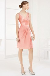 V Neck Square Back Taffeta Wrapped Prom Dress With Floral Straps And Jacket