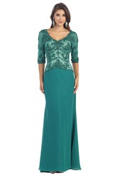 Sheath V-Neck Half Sleeve Jersey Lace Low-V Back Dress With Appliques