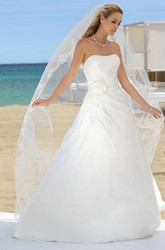 Maxi Strapless Floral Satin Wedding Dress With Side Draping