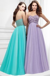 Maxi A-Line Sleeveless Beaded Sweetheart Tulle Prom Dress With Low-V Back