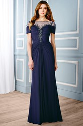 A-Line Bateau Short-Sleeve Beaded Maxi Chiffon Formal Dress With Low-V Back And Ruching