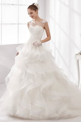 Jewel-Neck A-Line Wedding Gown with Cascading Ruffles and Illusive Neckline