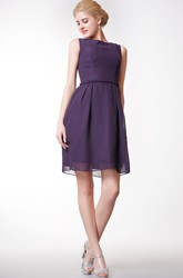 Simple Bateau Neckline A-line Short Chiffon Dress