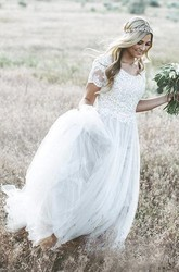 Short Sleeve A-line Bohemian Tulle Wedding Dress With Lace Appliques And Ruching