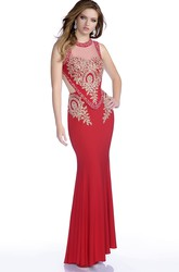 Mermaid Sleeveless Jersey Prom Dress With Keyhole Back And Rhinestone Bodice