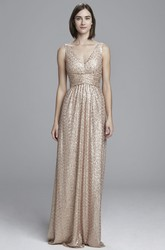 Maxi V-Neck Sleeveless Ruched Sequin Bridesmaid Dress