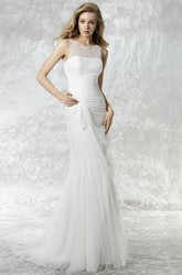 Sheath Scoop Long Lace Sleeveless Tulle Wedding Dress With Illusion Back And Side Draping