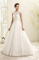 A-Line Sleeveless Appliqued High-Neck Maxi Lace Wedding Dress