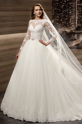 A-line Long-sleeve Wedding Gown with Lace Appliques Bodice and Brush Train