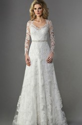 Long-Sleeved V-Neck A-Line Long Wedding Dress With Illusion Appliqued Sleeves