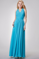 V-neck Backless Ruched A-line Long Chiffon Dress