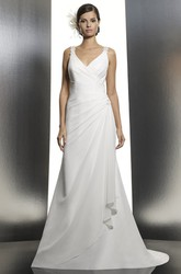 A-Line Side-Draped V-Neck Floor-Length Sleeveless Satin Wedding Dress With Lace And Low-V Back