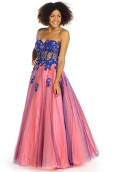 A-Line Sweetheart Sleeveless Crystal Floor-Length Satin Prom Dress With Corset Back