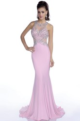 Mermaid Sleeveless Jersey Prom Dress Featuring Shining Jeweled Bodice