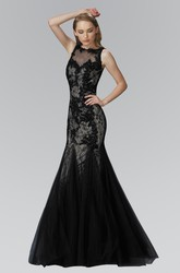 Trumpet Bateau Sleeveless Lace Deep-V Back Dress With Appliques And Beading